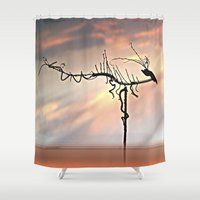 selena gomez Shower Curtains featuring Dragon by Menchulica