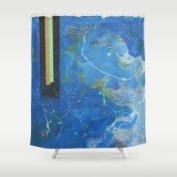 bar Shower Curtains featuring Gold Bar Green Bar by DANiELLE