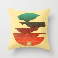 sunshine Throw Pillows featuring Go West by Picomodi