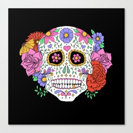 Sugar Skull with Flowers on Black Canvas Print
