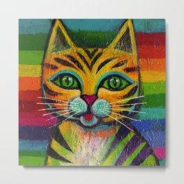 Rainbow kitty Metal Print