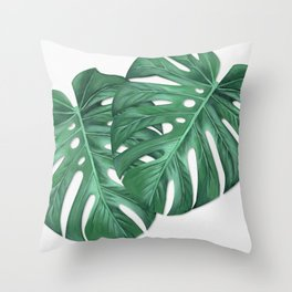 Monstera Tropical Leaf Painting Throw Pillow