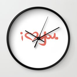 I Love You in Peach Wall Clock