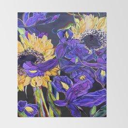 Sunflower & Iris Throw Blanket
