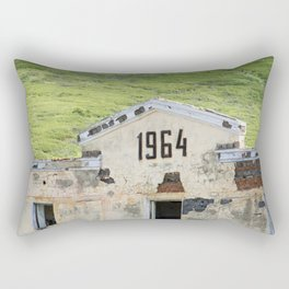 1964. Buildings of the old abandoned mercury mine Aktash. Altai Mountains, Siberia, Russia. Rectangular Pillow