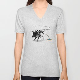 Rat and rainbow. Black on white background-(Red eyes series) Unisex V-Neck