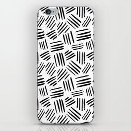 Abstract black white watercolor brushstrokes motif iPhone Skin