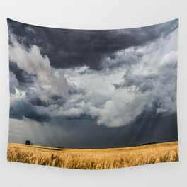 Cotton Candy - Storm Clouds Over Wheat Field in Kansas Wall Tapestry