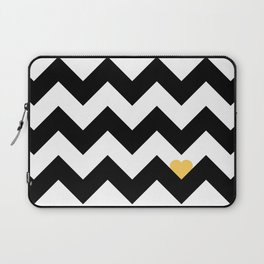 Heart & Chevron - Black/Yellow Laptop Sleeve