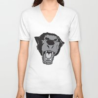 panther V-neck T-shirts featuring Panther by Taranta Babu