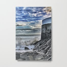 Cornish Pier with Waves Metal Print