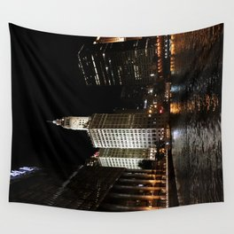 Wrigley Building and Chicago River at Night Color Photo Wall Tapestry