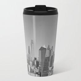 Black and White Philadelphia Skyline Metal Travel Mug