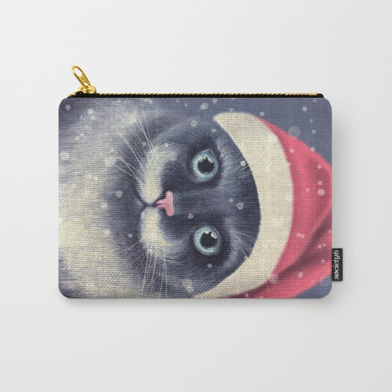 Christmas cat with a mustache Carry-All Pouch