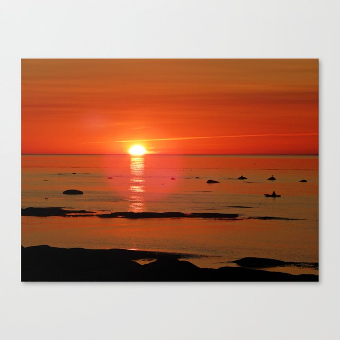 Kayaker and the Setting Sun Canvas Print