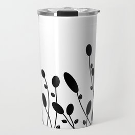 Abstract black flowers Travel Mug