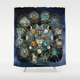 """Astrological Mechanism - Zodiac"" Shower Curtain"