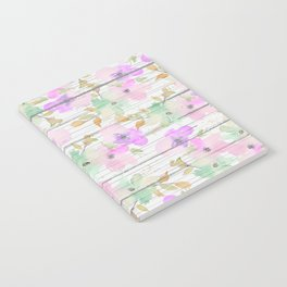 Rustic white wood mint green pink watercolor floral Notebook