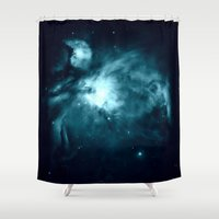 nebula Shower Curtains featuring Orion nebula : Teal Galaxy by 2sweet4words Designs