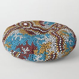 Authentic Aboriginal Art - Wetland Dreaming Floor Pillow