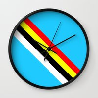 rave Wall Clocks featuring Rave by Naked N Pieces