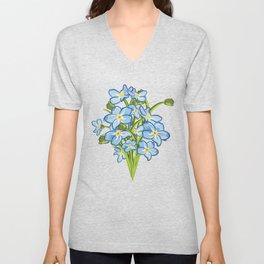 Spring Bouquet of Blue Myosotis Unisex V-Neck