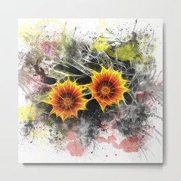 Glowing yellow daisies on white Metal Print