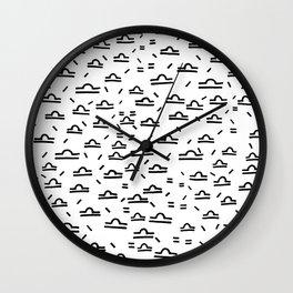 Libra Symbol Pattern Simple Black and White Drawn Wall Clock