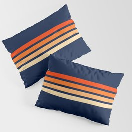 Minimal Orange Abstract Retro Racing Stripes 70s Style - Bluesane Pillow Sham