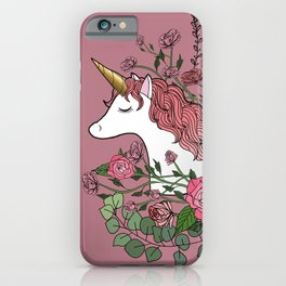 Unicorn in a Pink Rose Garden iPhone Case
