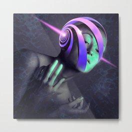 Futuristic Woman Spiral Metal Print