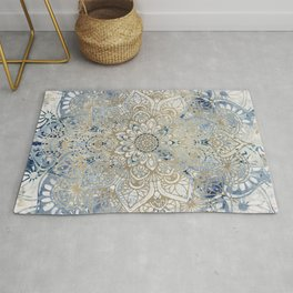 Mandala Flower, Blue and Gold, Floral Prints Rug
