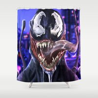 venom Shower Curtains featuring VENOM by corverez