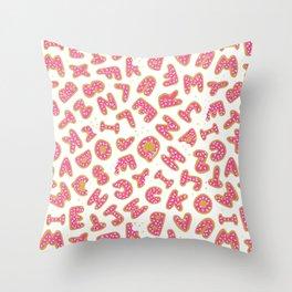 Iced Alphabet Cookies Throw Pillow