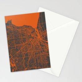 Detroit map orange Stationery Cards