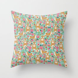 Shiba inu mint florals cute flowers dog breed must have gifts for pet dog lover unique dog breed art Throw Pillow