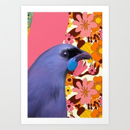 Kokako with Retro Floral Wallpaper Art Print