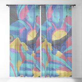 Butterfly Fish Birds Sheer Curtain