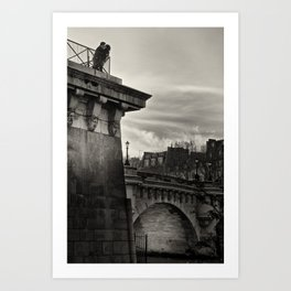 Lovers on the Bridge Art Print
