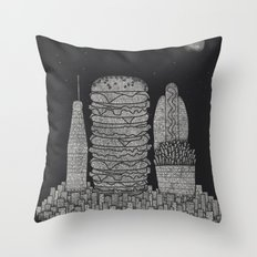 Fast Food City Throw Pillow