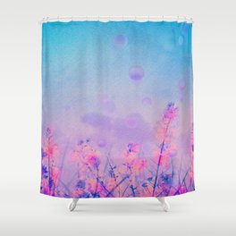Spring Purple Dream (Neon Pink Wildflowers, Indigo Sky) Shower Curtain