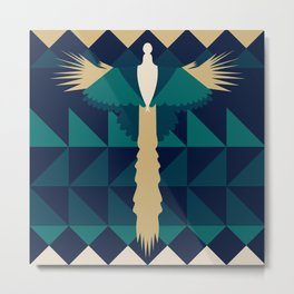 Aztec Peacock Metal Print