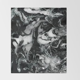 Black and white Marble texture acrylic paint art Throw Blanket