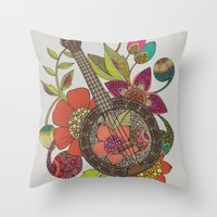 banjo Throw Pillows featuring Ever Banjo by Valentina Harper