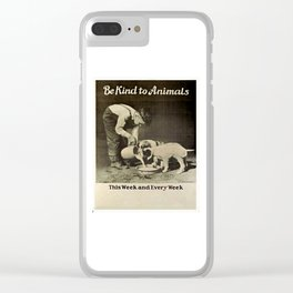 Vintage Be Kind To Animals Advert - Black and White Clear iPhone Case