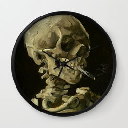 Skull of a Skeleton with Burning Cigarette - Van Gogh Wall Clock