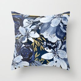 Navy Blue & Gold Watercolor Floral Throw Pillow