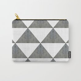 Cement White Triangles Carry-All Pouch