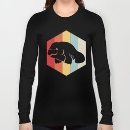 Manatee Retro Vintage Save The Floaty Potatoes design Gift Long Sleeve T-shirt
