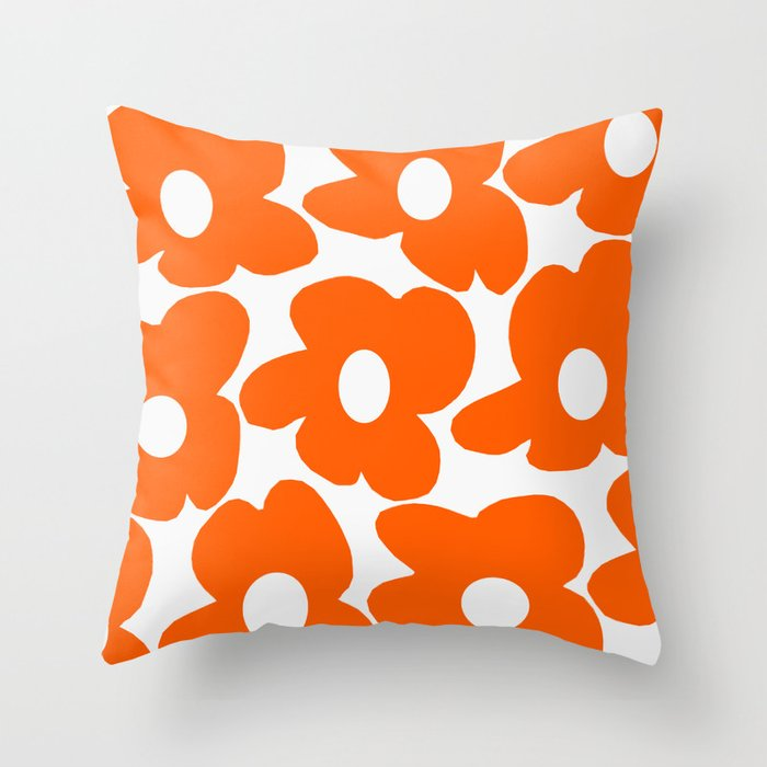 Orange Retro Flowers White Background #decor #society6 #buyart Throw Pillow